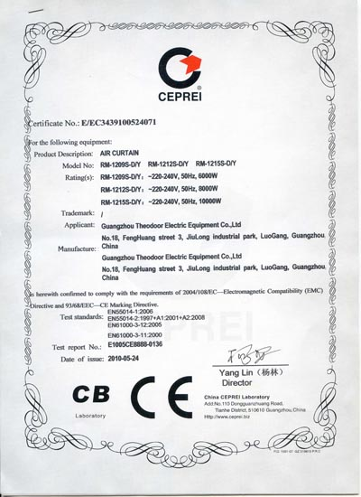 Heating type Air Curtain CE certification